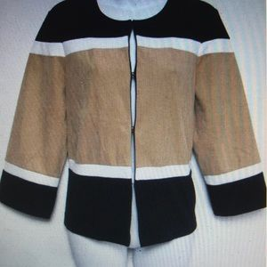 Chico's Travelers Knit ColorBlock Jacket tan blk